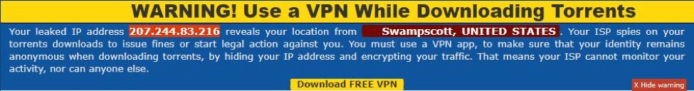 VPN Warning